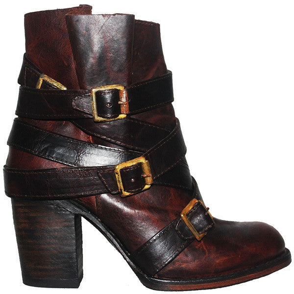 Freebird Hustle - Brown Multi Leather Strapped & Buckled Short Boot