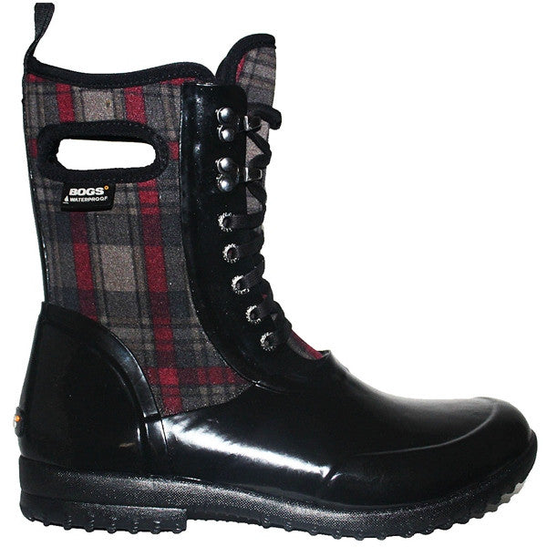 BOGS Sidney - Waterproof Black Rubber/Plaid Fabric Lace-Up Rain Boot