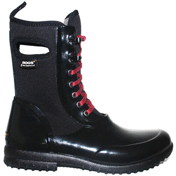 Bogs Sidney - Waterproof Black Rubber/Fabric Lace-Up Rain Boot