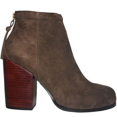 Kixters Zaza - Taupe Suede Back Zip Block Heel Short Boot