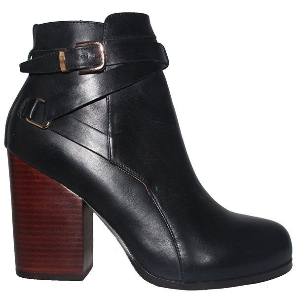 Kixters Gena - Black Leather Buckle Strap Block Heel Short Boot