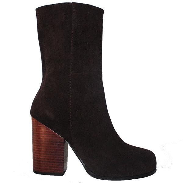Kixters Petula - Dark Brown Suede Side Zip Block Heel Mid Boot