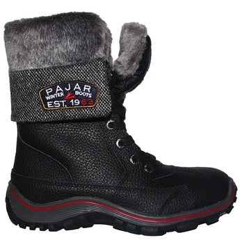 Pajar Alice - Waterproof Black/Grey Leather/Wool Calf-High Pile-Lined Winter Boot