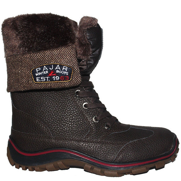 Pajar Alice - Waterproof Dark Brown Leather/Wool Calf-High Pile-Lined Winter Boot