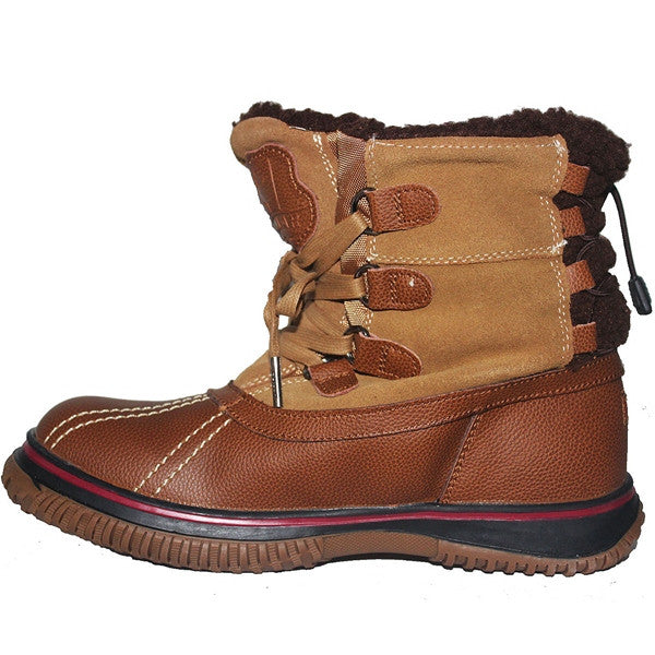 8880fadbe Pajar Iceland - Waterproof Cognac/Tan Leather/Suede Short Pile-Lined Winter  Boot ...