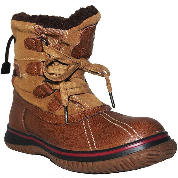 af77e8903 ... Pajar Iceland - Waterproof Cognac/Tan Leather/Suede Short Pile-Lined Winter  Boot ...
