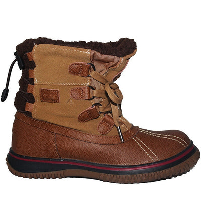 Pajar Iceland - Waterproof Cognac/Tan Leather/Suede Short Pile-Lined Winter Boot