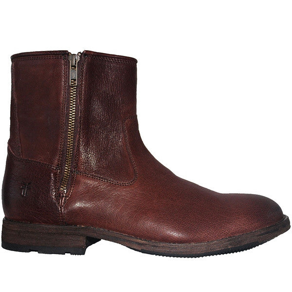Frye Boot Ethan - Dark Brown Leather Double Zip Boot