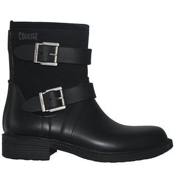Cougar Kirby - Waterproof/Thermal Black Dual Buckle Engineer Rain Boot