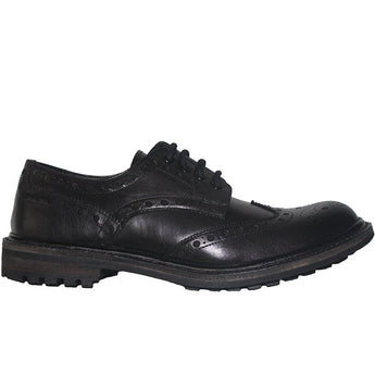 Kixters Douglas - Antique Black Leather Lug Wing-Tip Oxford