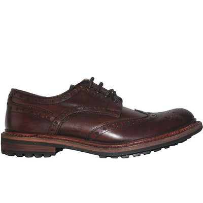 Kixters Douglas - Antique Dark Brown Leather Lug Wing-Tip Oxford