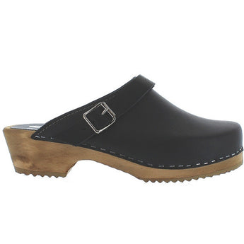 Mia Alma - Black Leather Slide Clog