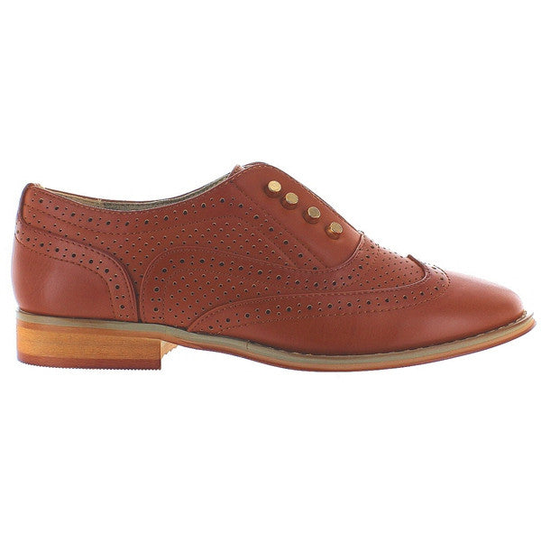 Wanted Hunny - Tan Slip-On Wing Tip Oxford