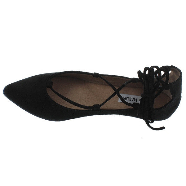 f11726813c7 Steve Madden Eleanorr - Black Suede Fancy Lace-Up Flat – Kixters.com
