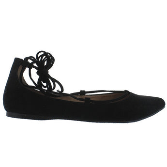 Steve Madden Eleanorr - Black Suede Fancy Lace-Up Flat