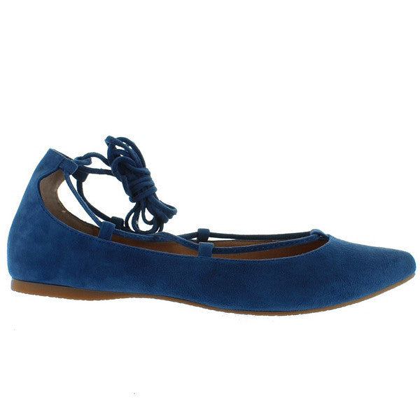 60dd6e12b67 Steve Madden Eleanorr - Blue Suede Fancy Lace-Up Flat – Kixters.com