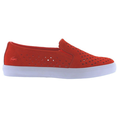 Lacoste Gazon - Orange/White Laser Cut Slip-On Sneaker