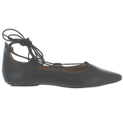Chelsea Crew Gigi - Black Fancy Lace-Up Ballet Flat