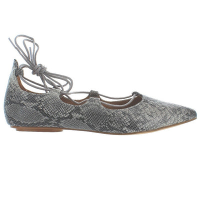 Chelsea Crew Gigi - Beige Snake Fancy Lace-Up Ballet Flat