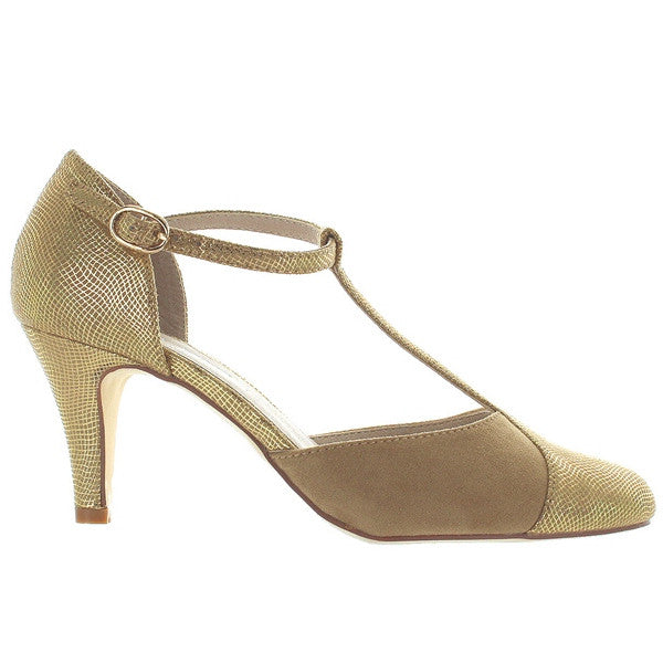 Chelsea Crew Mimosa - Gold T-Strap Pump