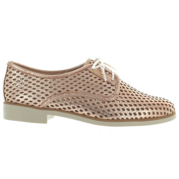 Chelsea Crew Woody - Gold Leather Laser Cut Oxford