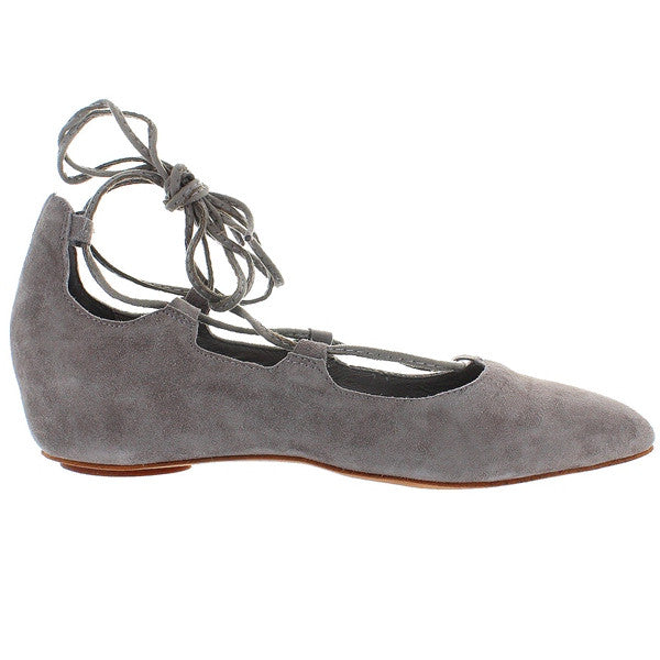Jeffrey Campbell Atsuko - Taupe Suede Fancy Lace-Up Ballet Flat