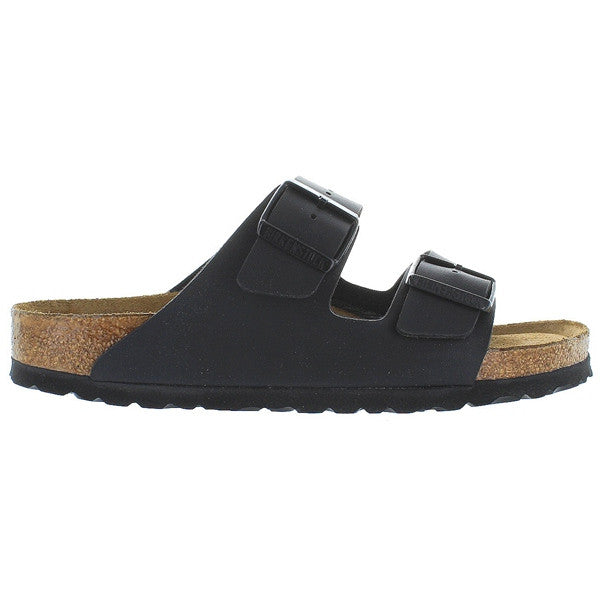 Birkenstock Arizona - Birki Flor Black Leather Dual Strap Footbed Sandal