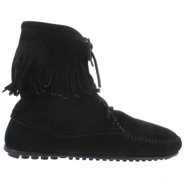 Minnetonka Tramper - Black Suede Fringe Lace-Up Boot