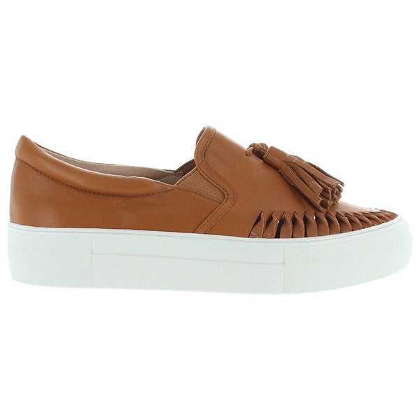 J Slides Aztec - Tan Leather Tassel Slip-On Platform Sneaker