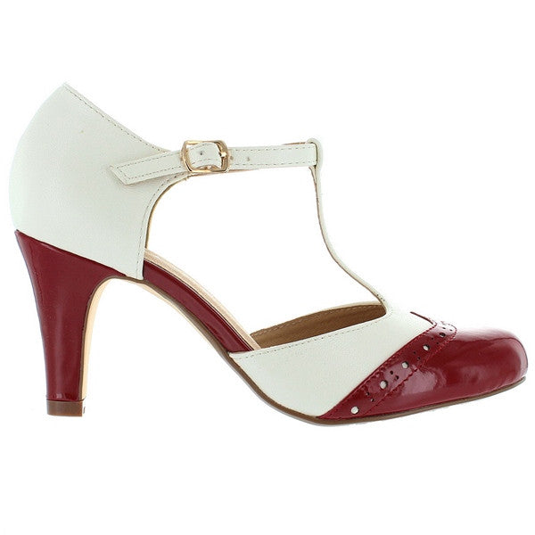 Chelsea Crew Gatsby - Red/White T-Strap Pump