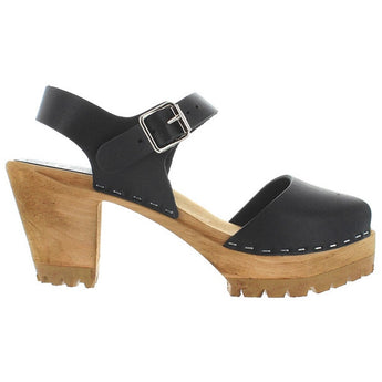 MIA Greta - Black Leather High Mary Jane Clog