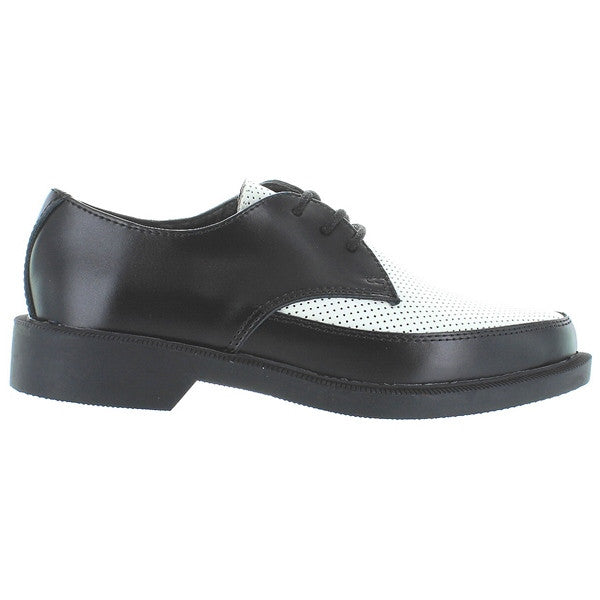 T.U.K. Jam - Black/White Leather Perforated Oxford