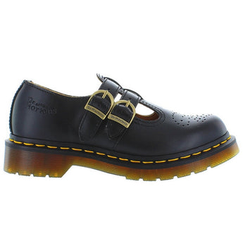 Dr Martens 8065 - Black Smooth Leather Dual Buckle T-Strap