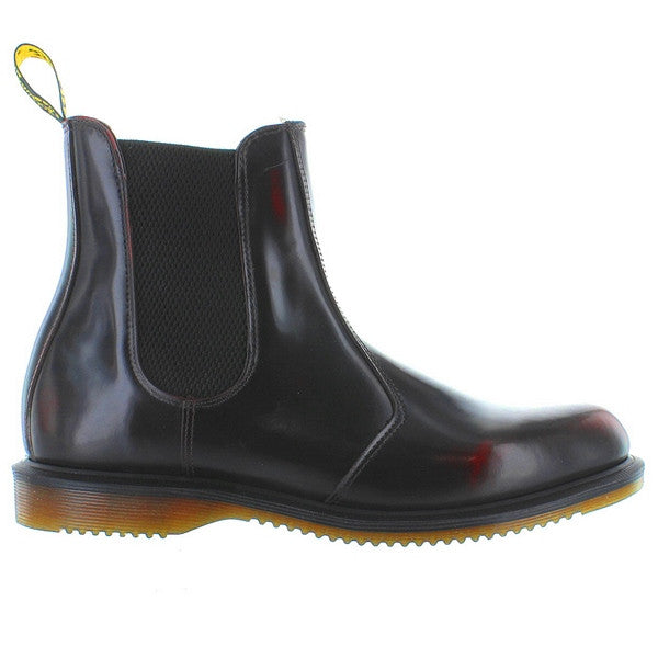 Dr Martens Flora Chelsea Boot - Red Polished Leather Pull-On Boot