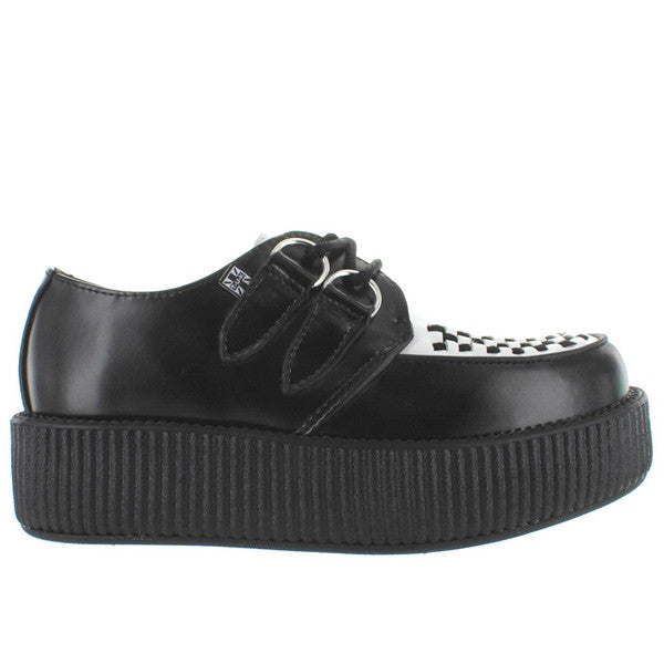T.U.K. Viva Mondo Creeper - Black/White Leather Ribbed Platform Oxford