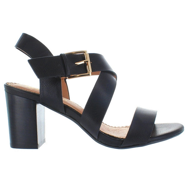 Restricted Kirby - Black Crisscross Mid-Heel Sandal