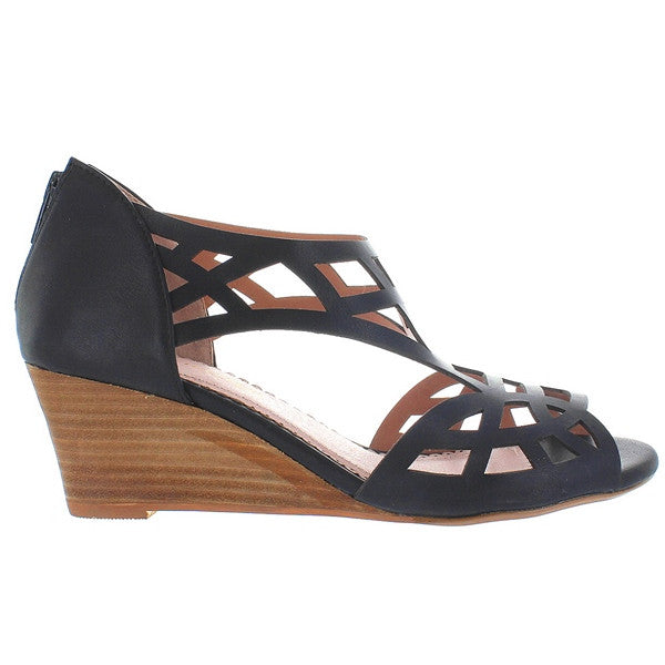 Restricted Dealer - Black Cut-Out Wedge Sandal