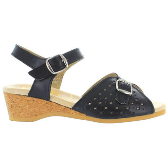 Worishofer 811 - Black Leather Mary Jane Wedge Sandal