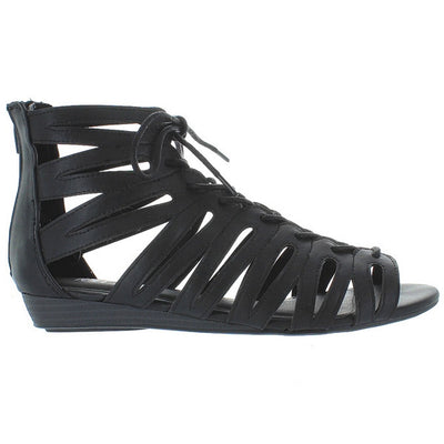 MIA Salena - Black Caged Wedge Sandal