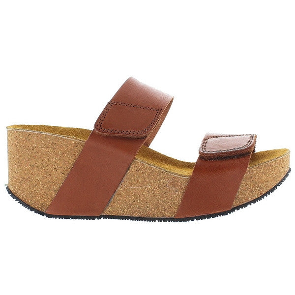 Eric Michael Lily - Brown Leather Dual Band Platform Wedge Slide Sandal