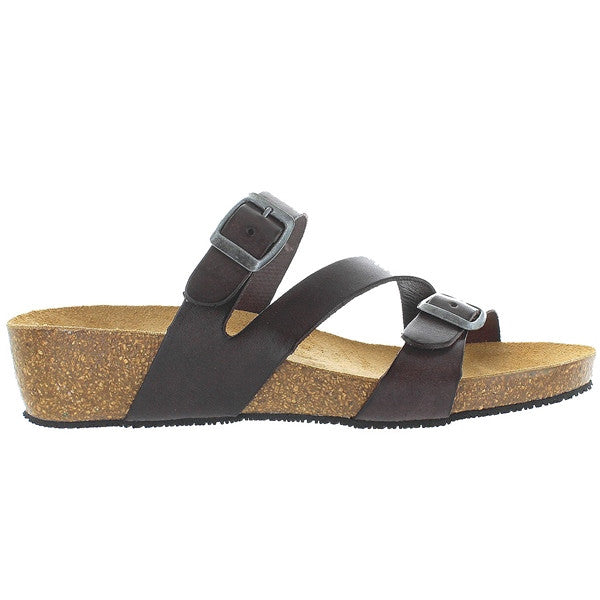 Eric Michael Ivy - Brown Leather Triple Strap Footbed Wedge Slide Sandal