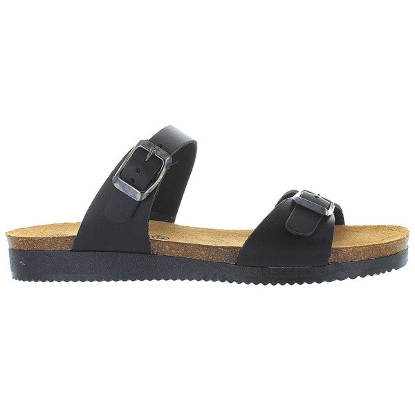 Eric Michael Natalie - Black Leather Dual Strap Footbed Slide Sandal