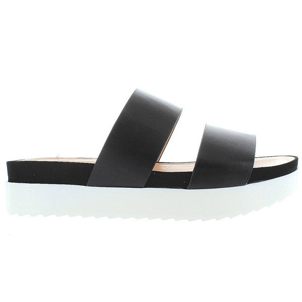 Wanted Mello - Black Dual Band Platform Slide Sandal