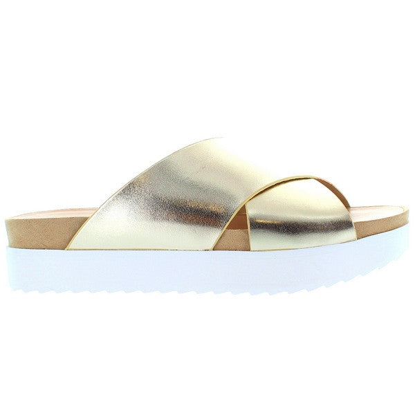 Wanted Marsh - Gold Crisscross Platform Slide Sandal