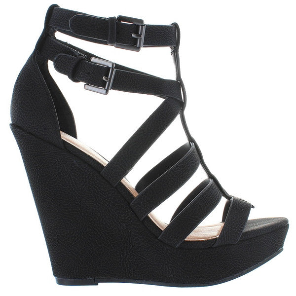 beac5cea688a ... Chinese Laundry Mali - Black Caged High Platform Wedge Sandal ...