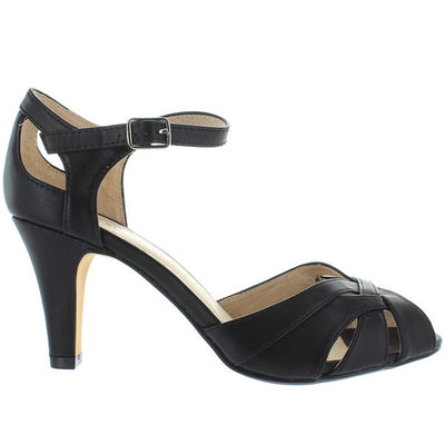 Chelsea Crew Chester - Black Interwoven Petal Toe Pump
