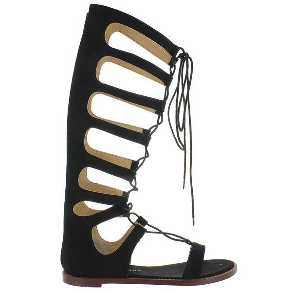 Chinese Laundry Galactic - Black Micro Suede Tall Gladiator Sandal