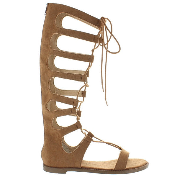 Chinese Laundry Galactic - Coco Brown Micro Suede Tall Gladiator Sandal GALACTIC-COCO MICRO SUEDE - Size 5