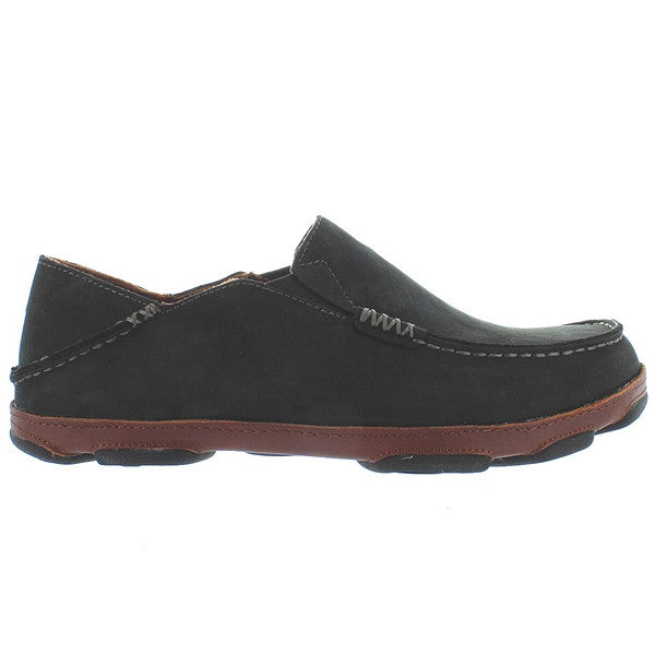 Olukai Moloa - Black/Toffee Leather Athleisure Slip-On Moc