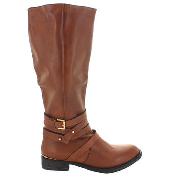 Steve Madden Albany - Cognac Leather Tall Buckle Strap Boot